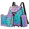 LOVEVOOK Geometrischer Rucksack Set Damen, Holographic Reflektierende Damenrucksack Leuchtend Tasche Daypack, 3pcs Backpack U