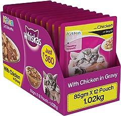 Whiskas Wet Cat Food, Chicken in Gravy for Kittens, 85 g (Pack of 12)