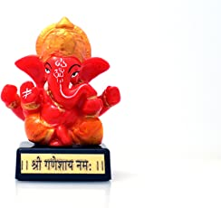 Venus Creation Ganesh Idol on Black Acrylic Base for Car Dashboard | Home Decor | Gifting | Antique Shree GANESHAY NAM | Size 3.5 inches | Code A129
