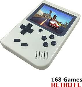 YLM Consoles De Jeux Portable, Console de Jeu Retro FC, Console de Jeu vidéo pour système de Divertissement avec 3 Pouces 168 Jeux Classiques, Cadeau d'anniversaire pour Enfants (Blanc)