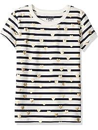 LOOK by crewcuts T-shirt a Manica Corta a Righe con Cuori Bambina