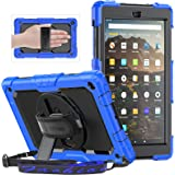 SEYMAC Case for Amazon Fire HD 10 Tablet (9th Generation 2019 and 7th Generation 2017), Shockproof Case with Screen Protector