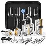 IPSXP Juego de Ganzuas, 18 piezas Ganzúas de Cerrajería con 4 cerraduras de entrenamiento transparentes y bolsillo con cremal