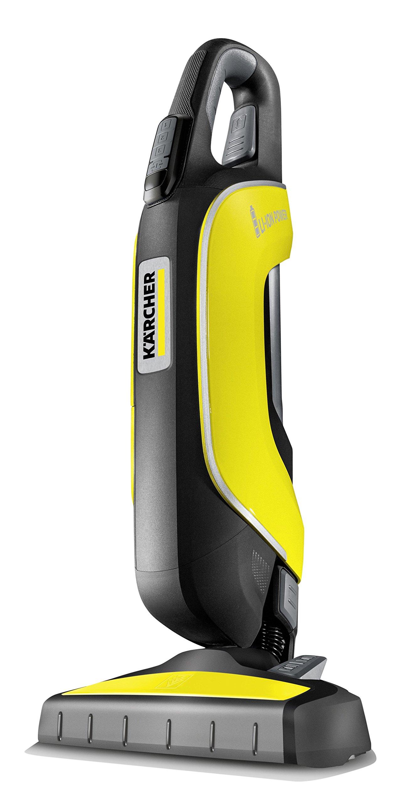 Kärcher VC 5 Cordless Premium Staubsauger kompakt ohne Kabel und ohne Beutel, 47 W, 75,5 Dezibel, Schwarz, Gelb