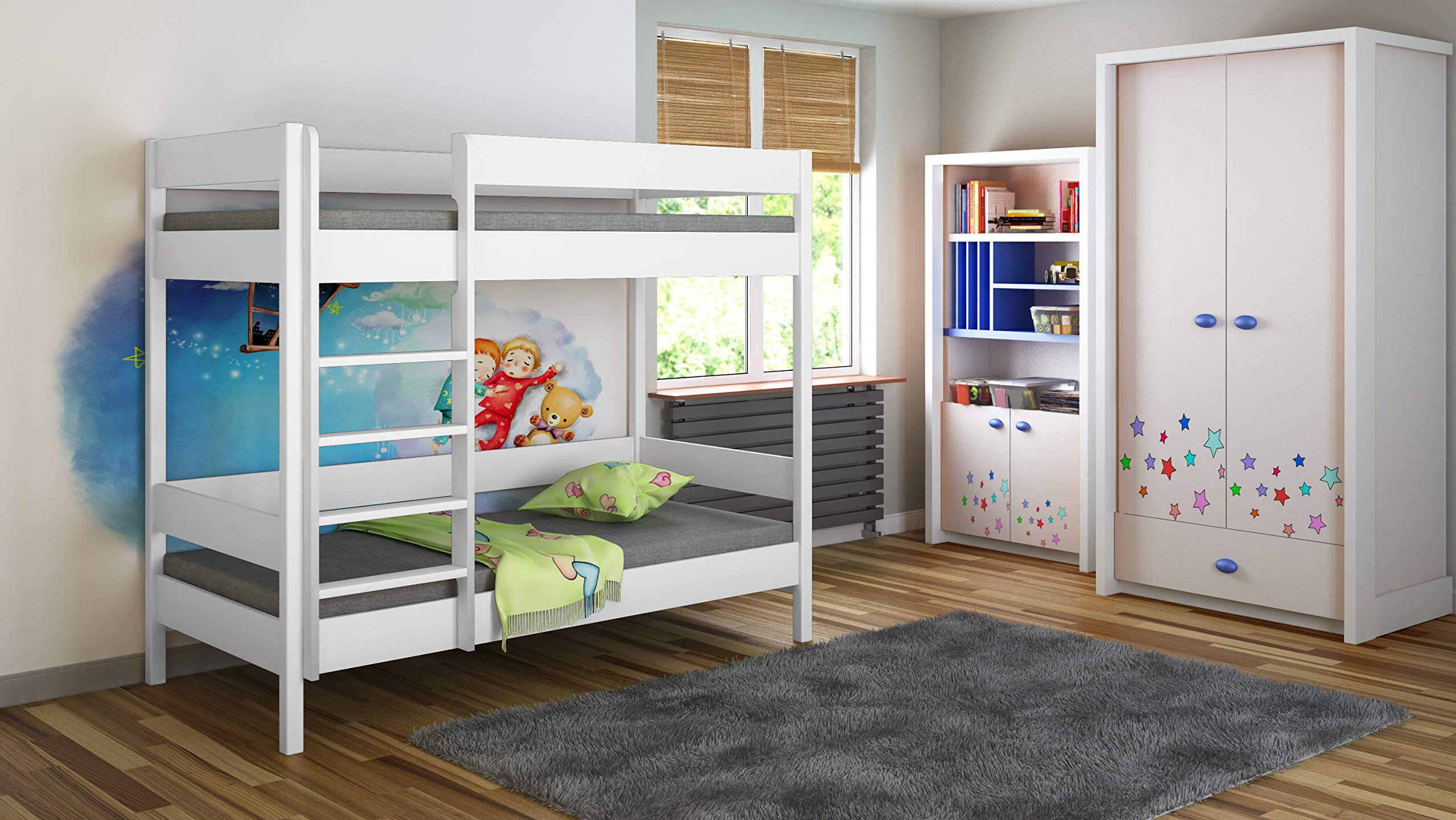 Bunk Beds - Kids Children Juniors Single with 2 Foam Mattress but No Drawers (160x80, White) Children's Beds Home Bed with barriers internal dimensions: 140x70x160, 160x80x160, 180x80x160, 180x90x160, 200x90x160. External dimensions: 147x77x160, 167x87x160, 187x87x160, 187x97x160, 207x97x160 Bunk Bed with access from the - Front (D-1), Universal bed entrance - left or right side. 1