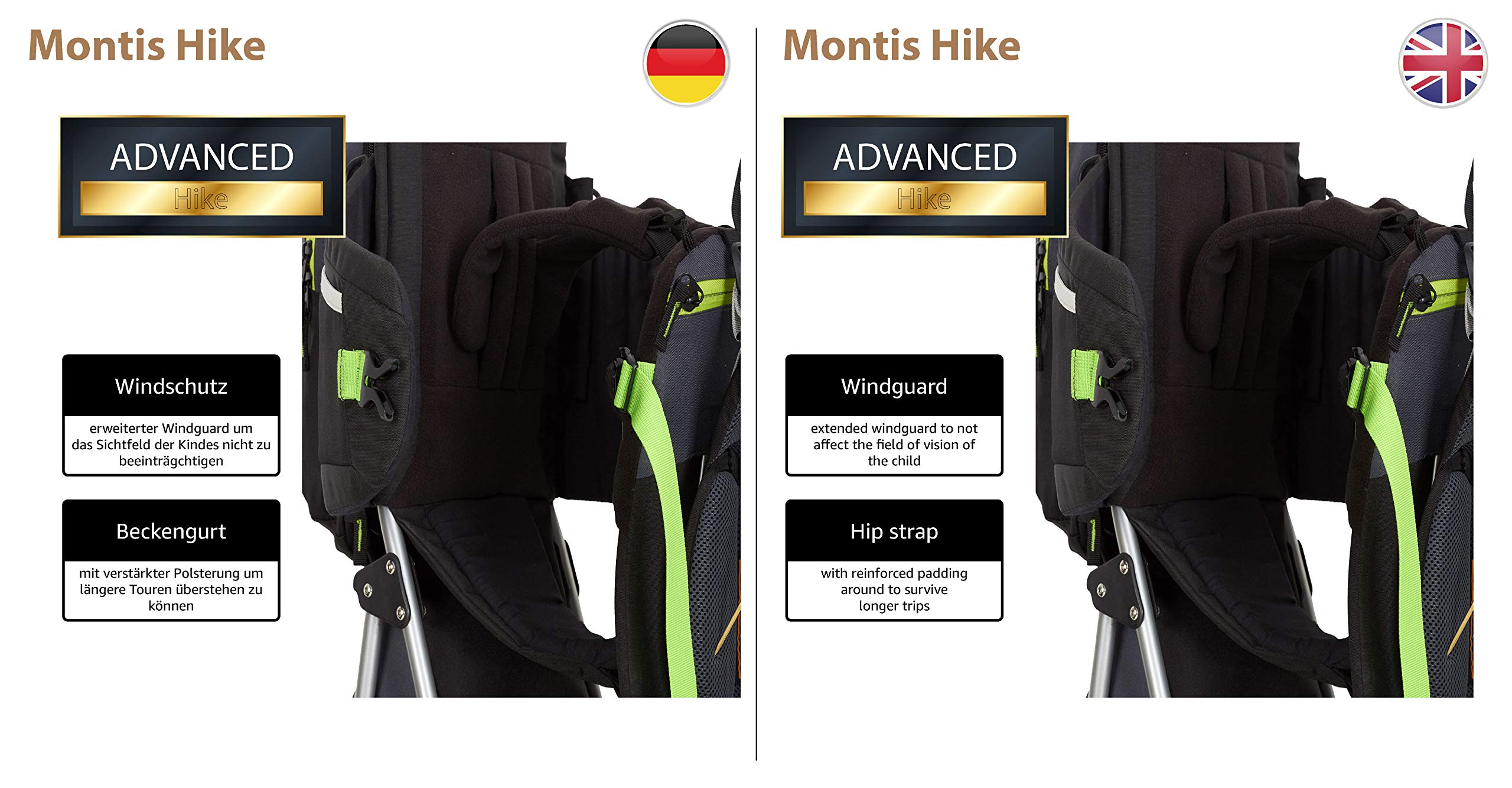 MONTIS HIKE, Premium Back Baby/Child Carrier, Up to 25kg, (black) M MONTIS OUTDOOR 89cm high, 37cm wide | up to 25kg | various colours | 28L seat bag Laminated and dirt-repellant outer material | approx. 2.2kg (without extras) Fully-adjustable, padded 5-point child's safety harness | plush lining, raised wind guard, can be filled from both sides | forehead cushion 7