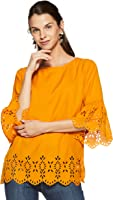 pluss Solid Mustard Polyester Round Neck Women Three-Quarter Sleeves Top