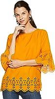 pluss Solid Mustard Polyester Round Neck Women Three-Quarter Sleeves Top