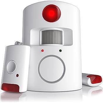 CSL - Alarmanlage mit Bewegungsmelder | Infrarot Funk Alarmsystem | Alarmmelder | PIR-Sensoralarm | Hausalarm | 100dB | inkl. 2x Fernbedienungen
