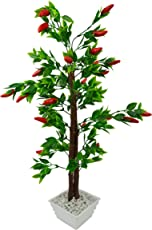 FancyMart Artificial Red Chillies Bonsai Tree with White Square Pot(Height 60 cms / 24 inchs)