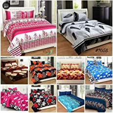 RS Home Furnishing Super Large Combo 10 King Size Double Bedsheets with 20 Pillow Covers,Multi