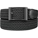 Bluecton Belt Elastic Stretch Woven Braided Belt for Men/Women Plus Size Black Square Business Buckle