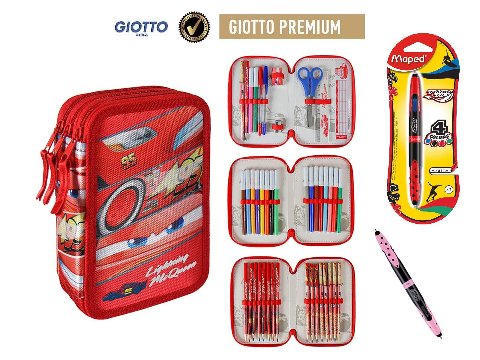 Plumier estuche cremallera triple 3 pisos Cars 43 piezas contenido Giotto + REGALO 12 Rotuladores BIC Kids