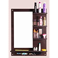 Captiver Engineered Wood Bellezza Wooden Wall Mounted Dressing Table Stands 80X60X13 cm in Wenge Colour lor