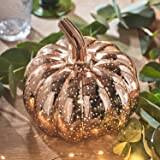 Lights4fun LED Kürbis rotgold 17cm Halloween Deko Timer