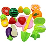 JVM® Realistic Sliceable 8 Pcs Fruits and Vegetables Cutting Play Toy Set, Can Be Cut in 2 Parts, Assorted