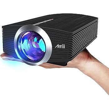 Proiettore 1600 Lumen, Artlii Mini Portatile Videoproiettore LCD Home Cinema, Supporto Full HD 1080P,Multimedia con Cavo HDMI USB/SD/VGA/AV
