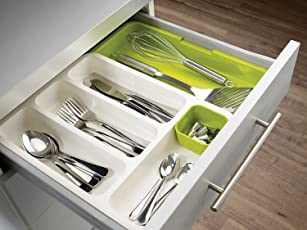 Kurtzy Expandable Cutlery Tray Plastic Drawer Holder to Store Organize Spoons Toiletries for Home Kitchen Bed & Bathroom