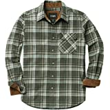 CQR Men's Long Sleeve Flannel Checked Comfortable Button-Up Cotton Shirt