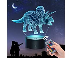 EUCOCO Dinosaurio 3D Luz de Noche - 16 Colores/Control Remoto - Triceratops/Spinosaurus/Tiranosaurio - Juguetes & Regalos par