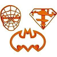 Set di 3 tagliabiscotti dei Supereroi (Batman, Spiderman e Superman)