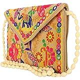 Craft Trade Women's Cotton Cross Body Handmade Elephant Floral Print Designer Embroidery Patch Work Envelop Pattern Rajasthan