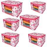 Fancy Walas Non Woven Saree Cover Storage Bags with Zip Combo (Pink , Standard Size) -6 Pieces