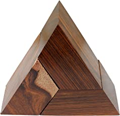 SKAVIJ 3D Puzzle Wooden 3-Piece Triangle Brain Teasure for Kids and Adults - 3.5 Inch