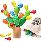 AGREATLIFE Giocattolo in Legno A Forma di Cactus per L'Equilibrio – Montessori Albero in Legno Arcobaleno con Pezzi Staccabil