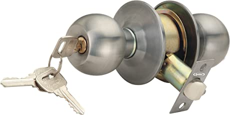 Spider Cylindrical Entrance Latch With 3 Brass Normal Keys, Cl01Ss