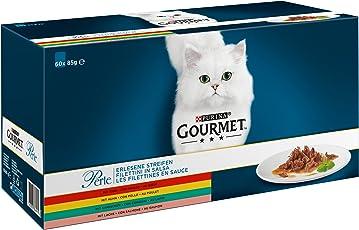 Gourmet Perle Erlesene Streifen mit Huhn, Rind, Lachs und Kaninchen, Hochwertiges Nassfutter für Katzen (60 x 85 g Portionsbeutel)