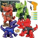 Fivejoy Dinosaurios Juguetes, 118 PCS Construcción Dinosaurio, Puzzle Dinosaurios con Taladro Eléctrico, Juguetes de Dinosaur