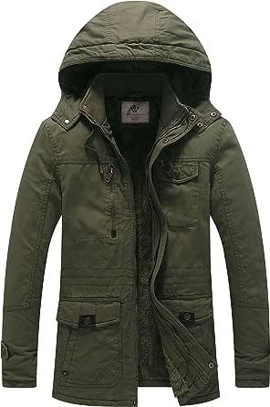 WenVen Men's Classic Cotton Hoodie Jacket Fleece Lining Warm Coat Winter Outdoor Parka Jacket Mid-Length Windproof Outerwear Coat