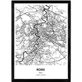 Nacnic Poster Mappa di Roma - Italia. Fogli Città in Italia con Mari e fiumi, in Colore Nero. Formato A3
