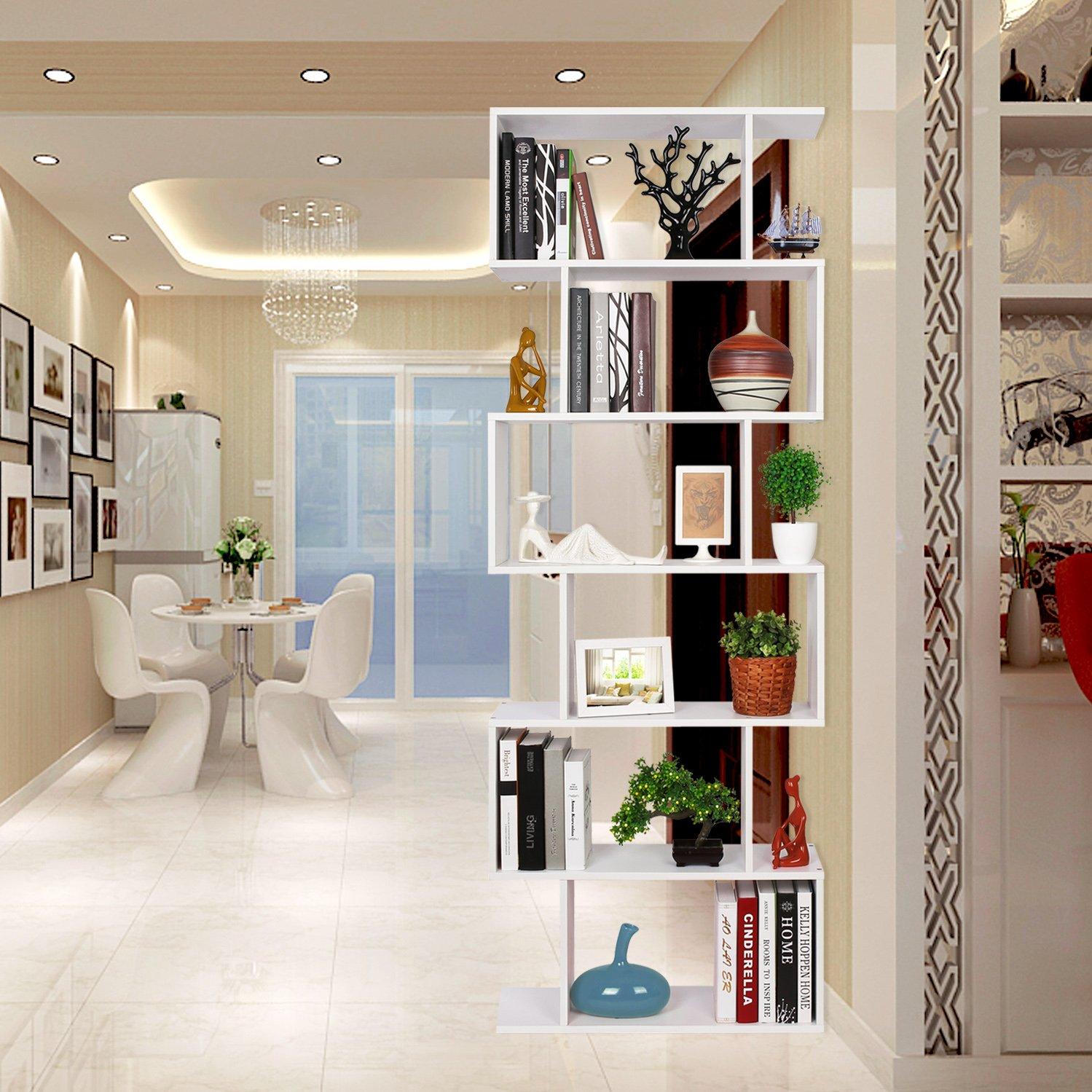 Homfa scaffale libreria mobile soggiorno in legno mobile for Libreria soggiorno moderno