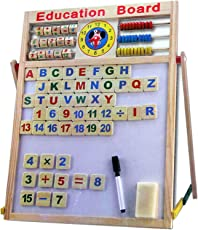 plutofit Magnetic Wooden Multipurpose Double-Sided Writing, Drawing Board with Abacus, Mathematical Calculations and English Alphabets (Multicolour)