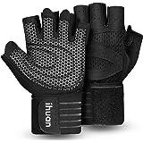 ihuan Geventileerde gewichtheffen Gym Workout Handschoenen met polswikkelondersteuning voor mannen en vrouwen, volledige palm