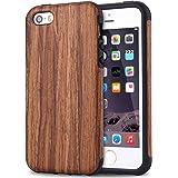 TENDLIN iPhone SE Hülle Holz und Flexiblem TPU Silikon Hybrid Weiche Schutzhülle für iPhone SE 5S 5 (Rotes Sandelholz)
