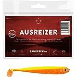 Zanderfang 4 Gummifische zum Zanderangeln mit Gummifisch Ausreizer   gelb-orange   12,5 cm