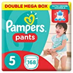 Pampers Pants Diapers, Size 5, Junior, 12-18 kg, Double Mega Box,168 Count
