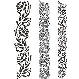 Bonzerdigs Border Stencil Flower Leaves Pattern A4 Size Stencil for Craft Painting Scrapbook Coloring Embossing Album Decorat