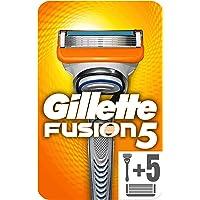 Gillette Fusion 5 Rasoio da Uomo + 6 Lamette Lamette di Ricarica con 5 Lame Antiattrito per una Rasatura Impercettibile…