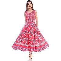Jaipuri Style Women's Cocktail Midi Dress (women in Dress 13_Multicolored_Free Size)