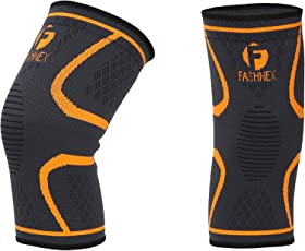 Fashnex Knee Support Sleeve for knee cap pain, running, gym, sports for men & women (Double Pcs), Orange, Large Size
