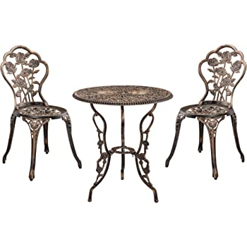 Casa Pro Gartentisch Bistro Tisch 60cm Rund Bronze Mit 2