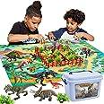 BUYGER 58 pcs Dinosaure Jouet avec Tapis de Jeu, Ensemble de Figurine Dinosaures Animaux Réaliste - Cadeau Éducatif pour Enfa