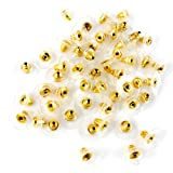 Jaz Golden Bullet Clutch Earring Backs With Silicone Pad Earring Backings Studs For Women/Girls - 50 Pcs