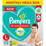 Pampers All round Protection Pants, Large size baby diapers (LG) 128 Count, Anti Rash diapers, Lotion with Aloe Vera
