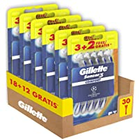 Gillette Sensor3 Confort Rasoi Uomo Usa e Getta, Maxi Formato da 30 Rasoi di cui 12 Gratis