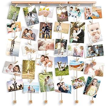 Love-KANKEI SHMILY Cadre Photo Mural avec Corde Porte-Photos avec 30 Petites Pinces Belle Décoration de la Maison Cadeau Mariage, Couple, Anniversaire